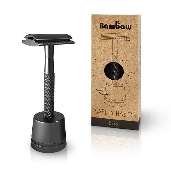 Bambaw - Säkerhetsrakhyvel med Ställ Svart 1