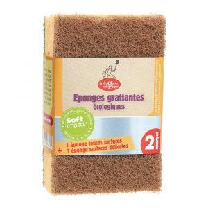 Kökssvamp grov grön och fin brun 2-pack