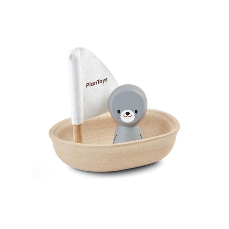 PlanToys - Badleksak Segelbåt i Trä med Säl 1