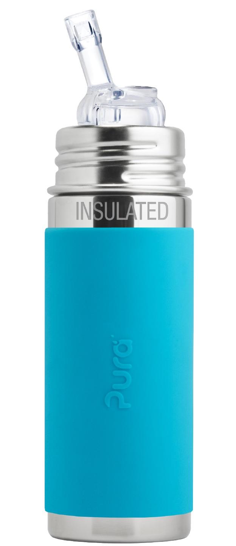 Pura - Isolerad Straw Cup Rostfritt Stål med Silikonhölje 260 ml, Aqua 1