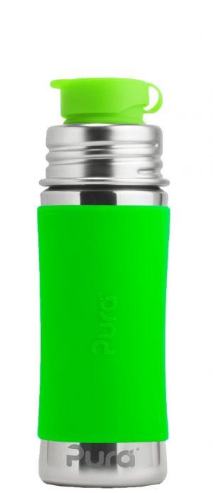 Sport Vattenflaska Rostfritt Stål med Silikonhölje 325 ml, Green