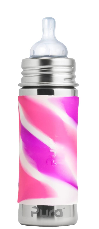 Pura - Nappflaska Rostfritt Stål med Silikonhölje 325 ml, Pink Swirl 1