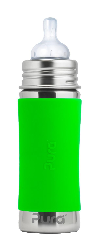 Pura - Nappflaska Rostfritt Stål med Silikonhölje 325 ml, Green 1