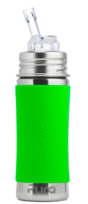 Pura - Straw Cup Rostfritt Stål med Silikonhölje 325 ml, Green 1