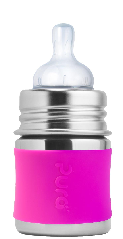 Pura - Nappflaska Rostfritt Stål med Silikonhölje 150 ml, Pink 1