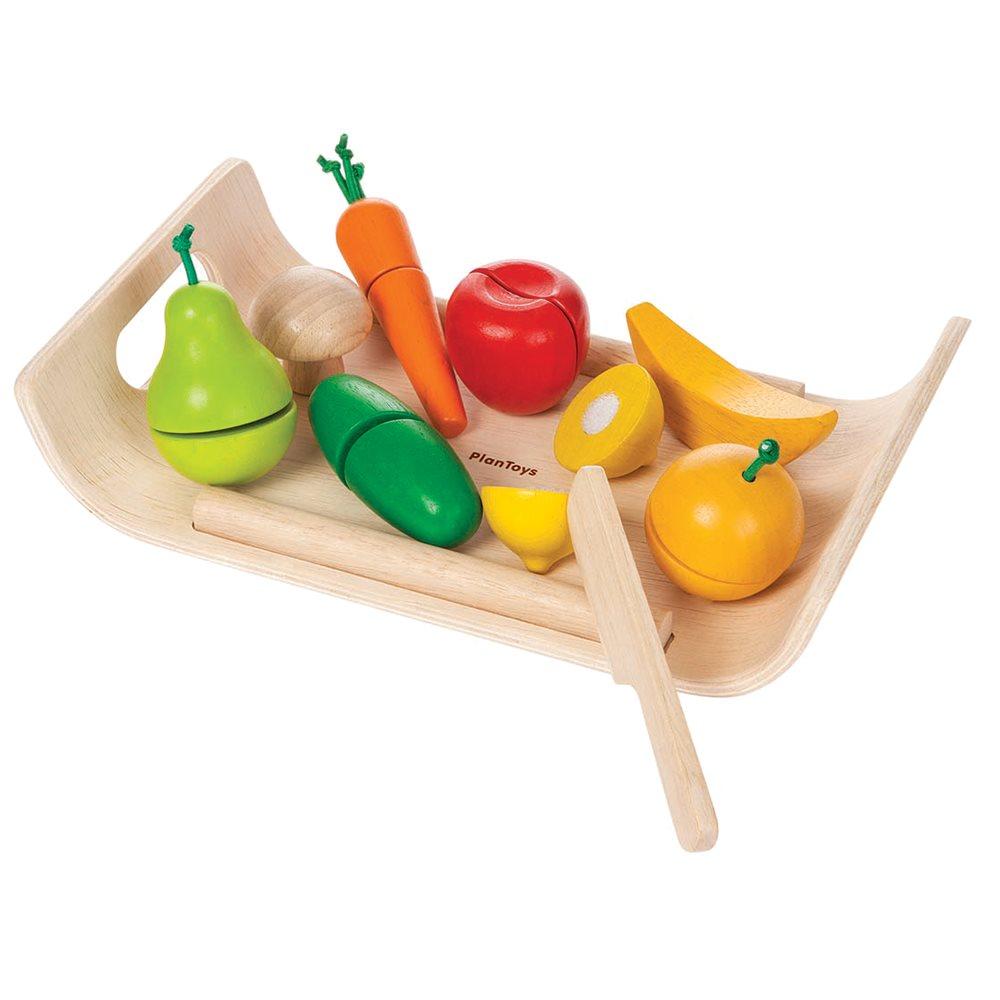 PlanToys - Bricka med Frukt & Grönsaker i Trä