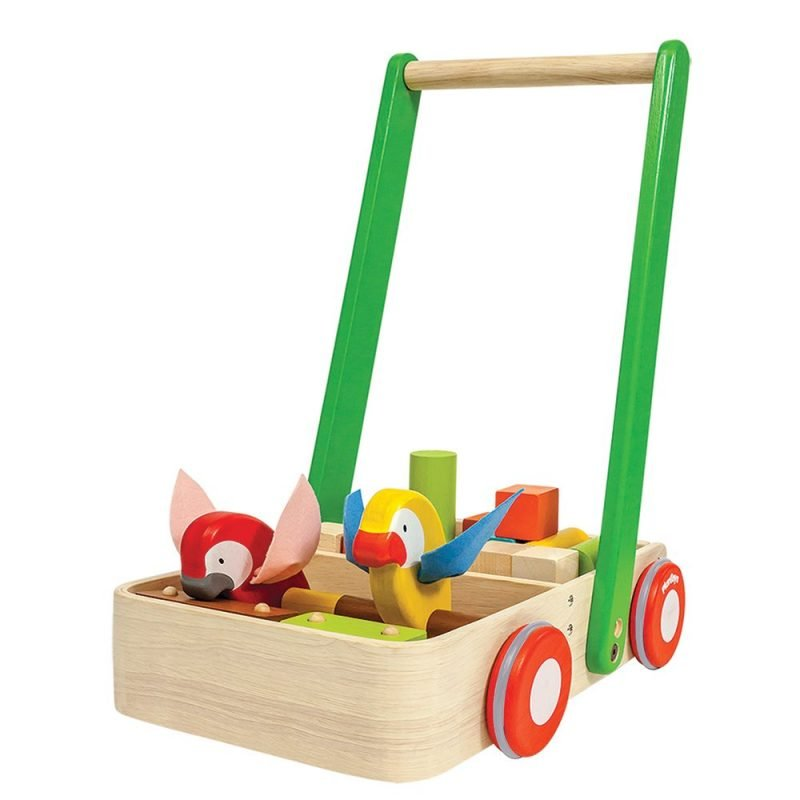 PlanToys - Lära Gå Vagn i Trä 1