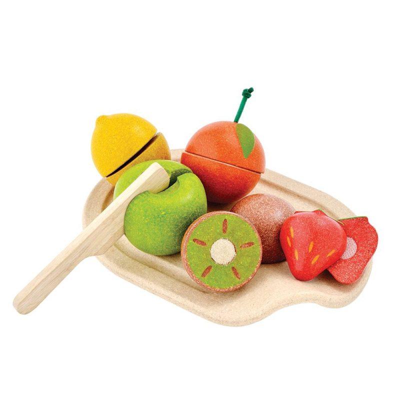 PlanToys - Leksaksmat Frukter med Skärbräda Trä 1