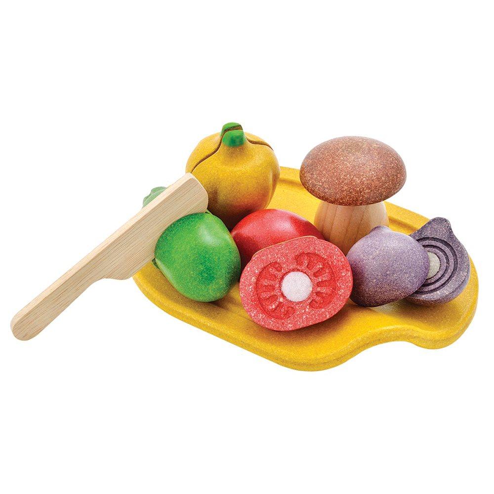 PlanToys - Leksaksmat Grönsaker med Skärbräda