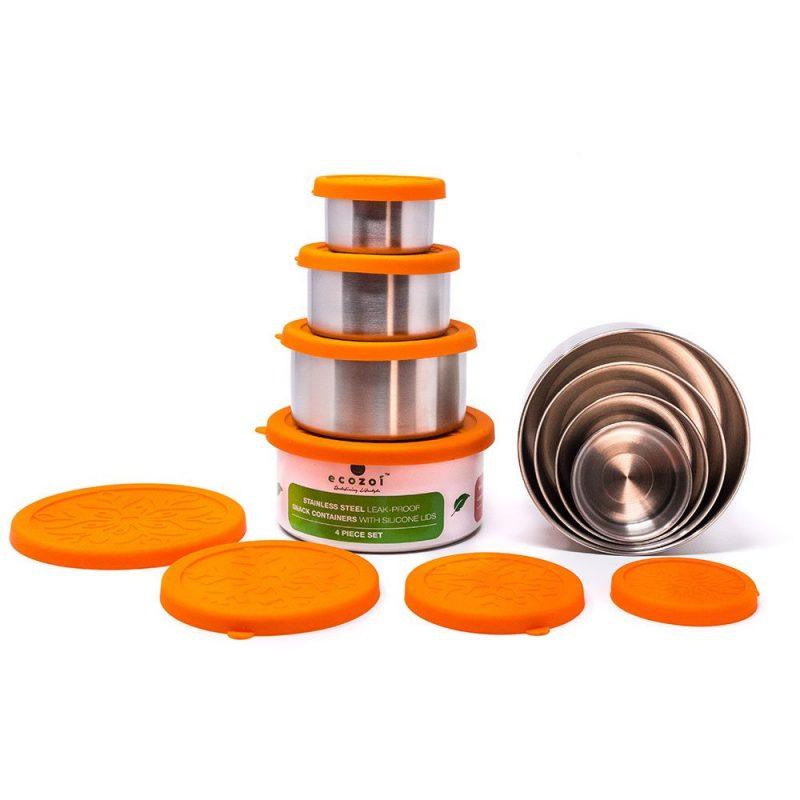 Ecozoi - Matlåda i Rostfritt Stål & Silikon Snack Containers 4 st 1