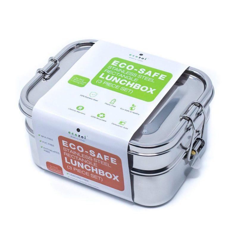 Ecozoi - Stor Läckagesäker Matlåda i Rostfritt Stål 3 i 1 1