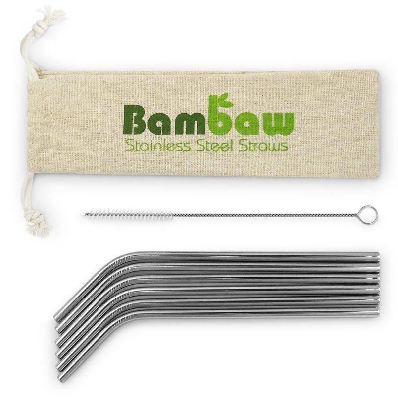 Bambaw - Sugrör i Rostfritt Stål + Diskborste 6-pack 1