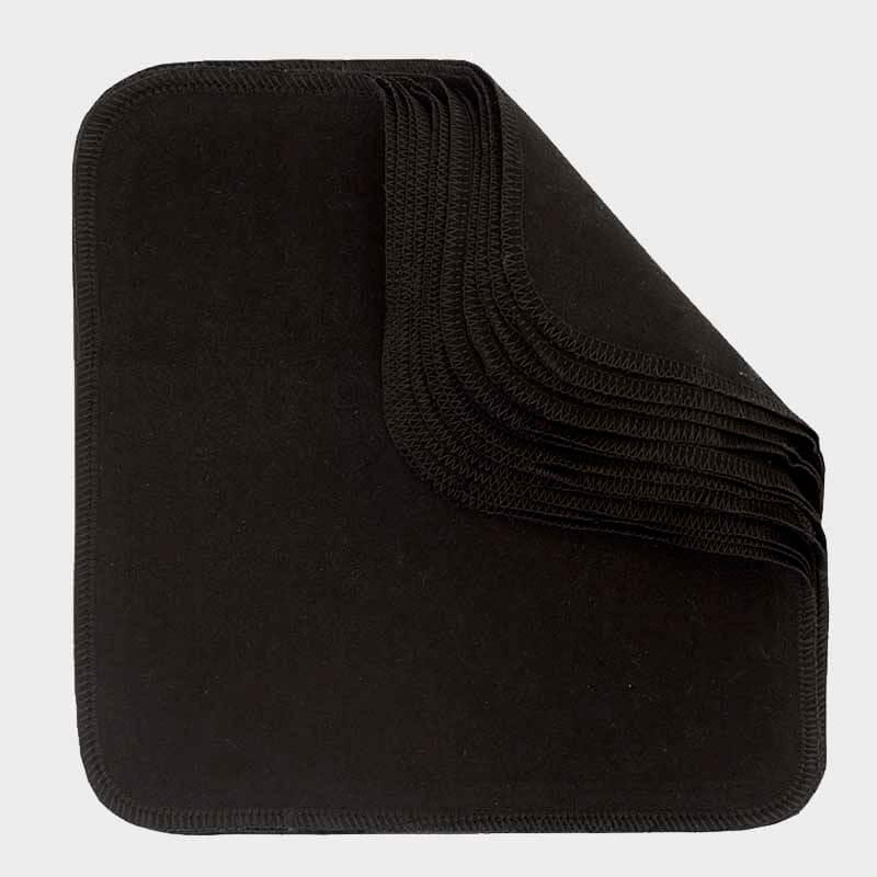 ImseVimse - Ekologiska Tvättlappar Bomullsflanell Black 10-pack 1