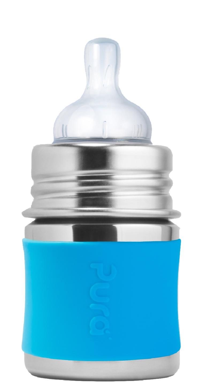 Pura - Nappflaska Rostfritt Stål med Silikonhölje 150 ml, Aqua 1