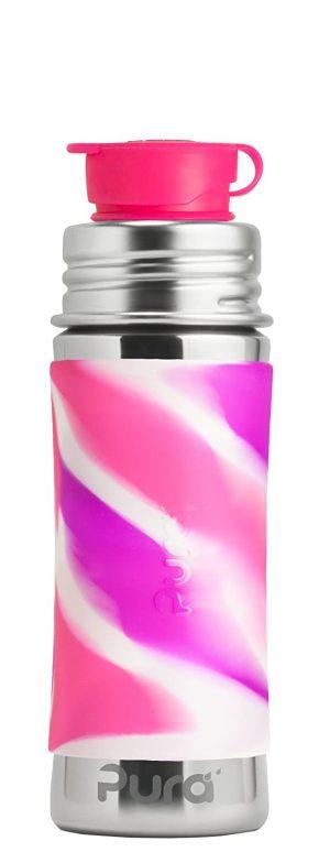 Sport Vattenflaska Rostfritt Stål med Silikonhölje 325 ml, Pink Swirl