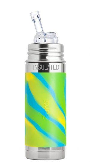 Isolerad Straw Cup Rostfritt Stål med Silikonhölje 260 ml, Aqua Swirl